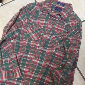 Vintage Pendleton shirt red plaid size large men's
